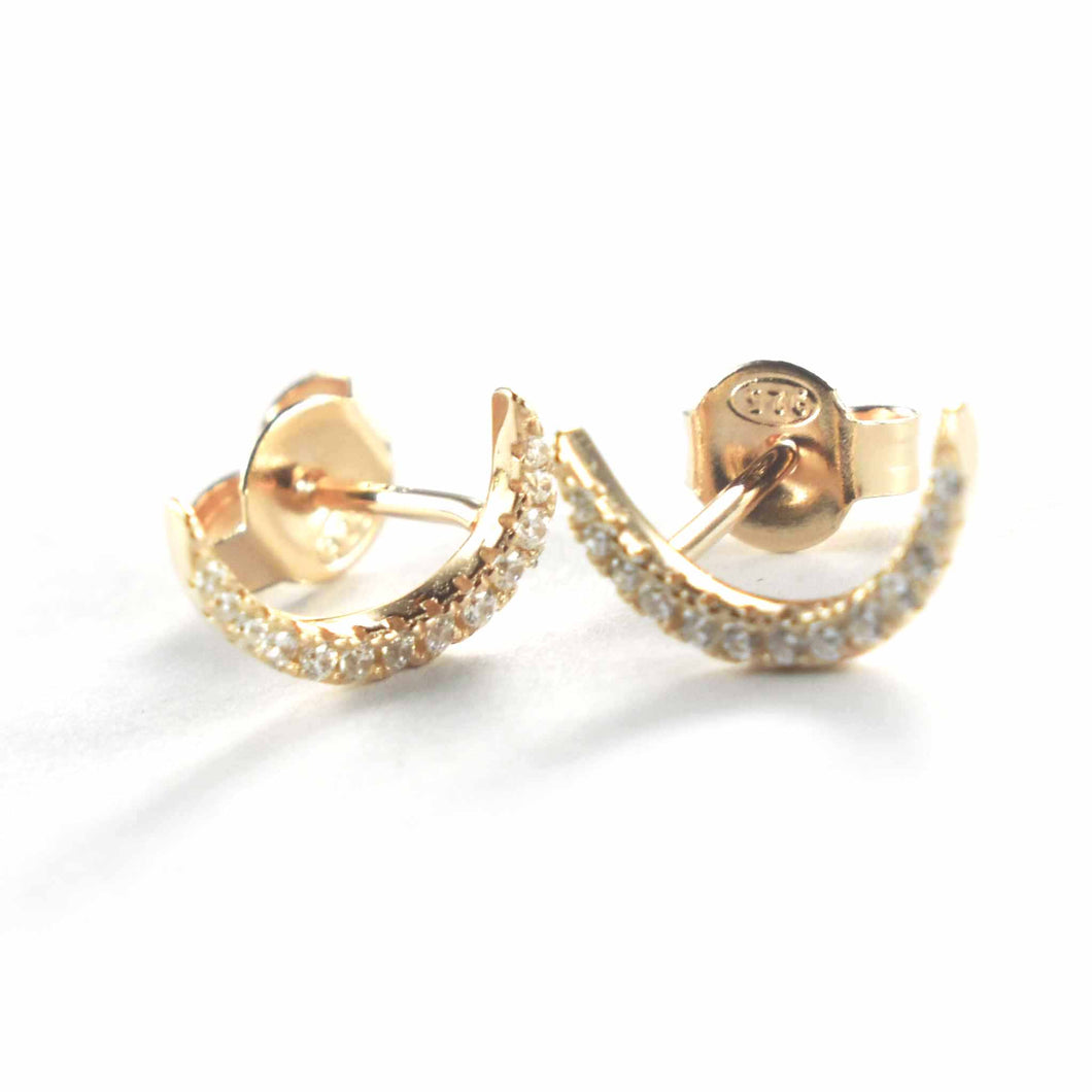 Half circle stud silver earring with white CZ & pink gold plating