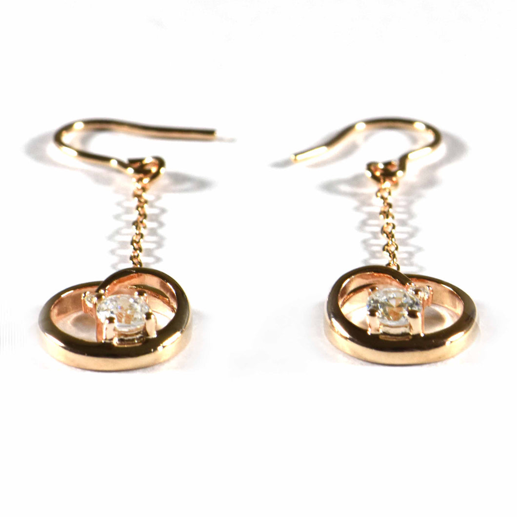 Heart & chain silver earring with CZ & pink gold plating