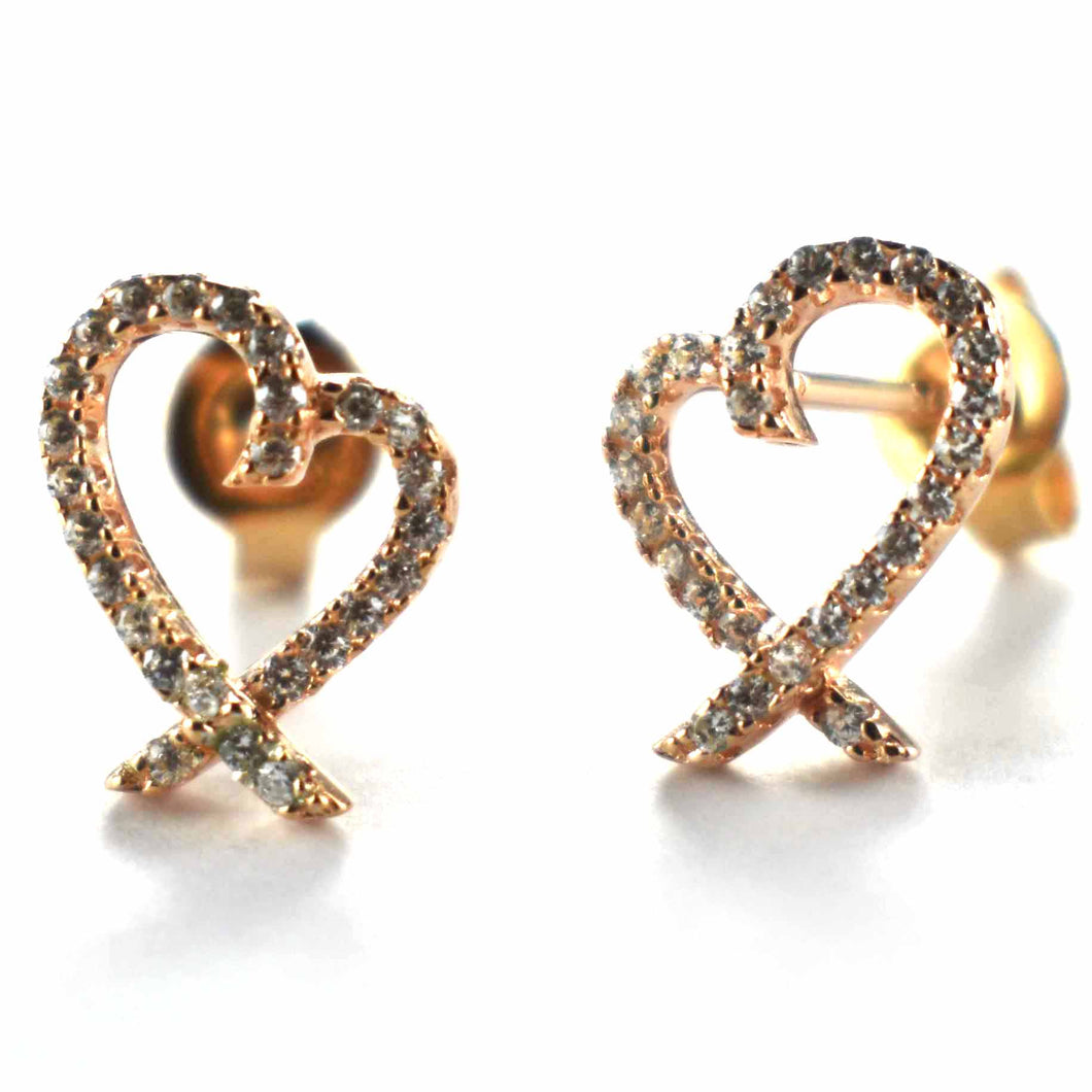 Heart pattern earring with white CZ & pink gold plating