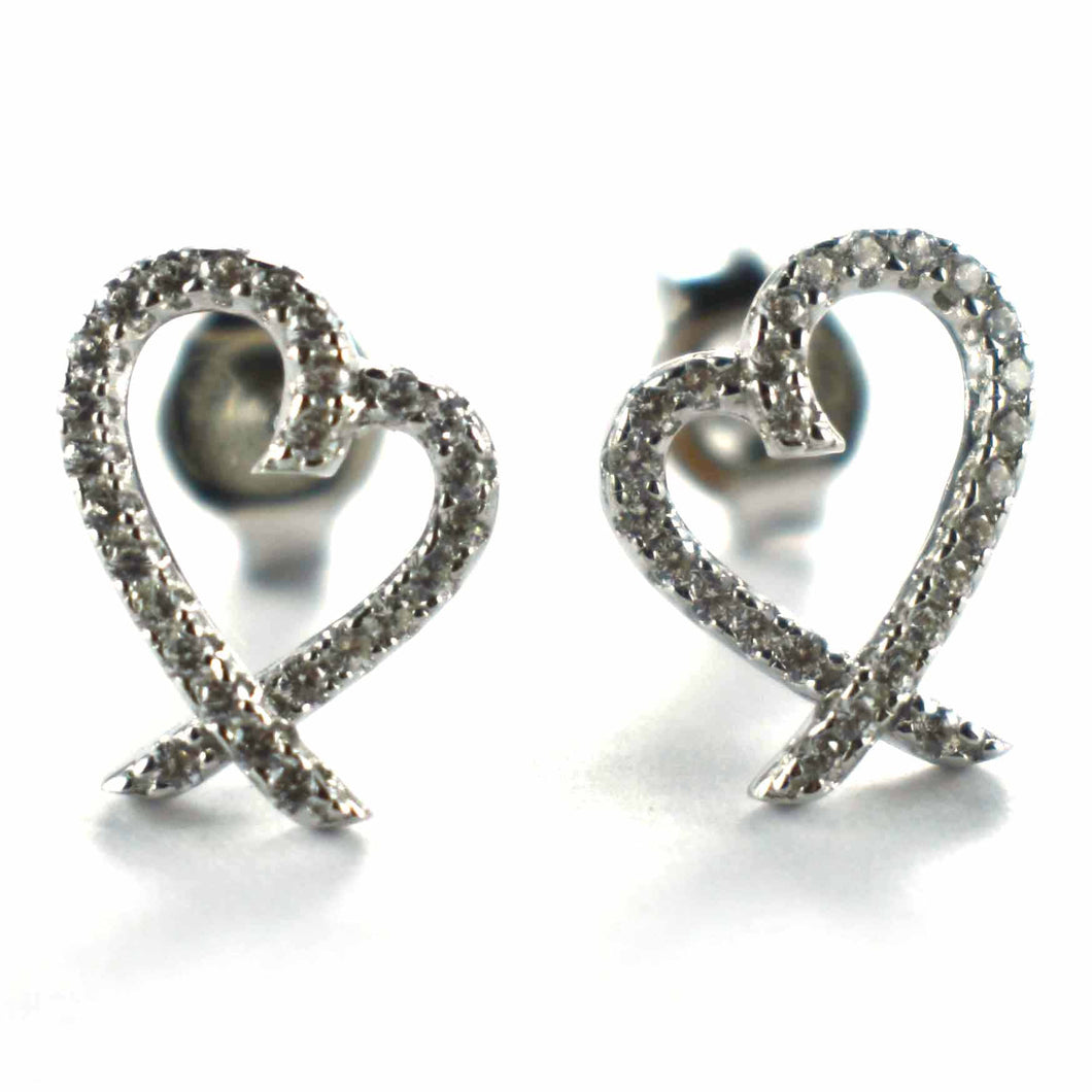 Heart pattern earring with white CZ & platinum plating