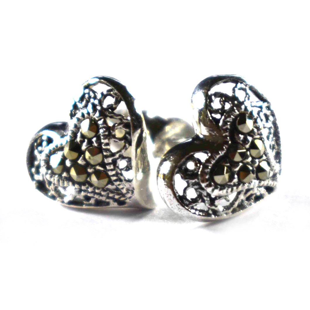 Heart pattern silver earring with macasite & oxidizing