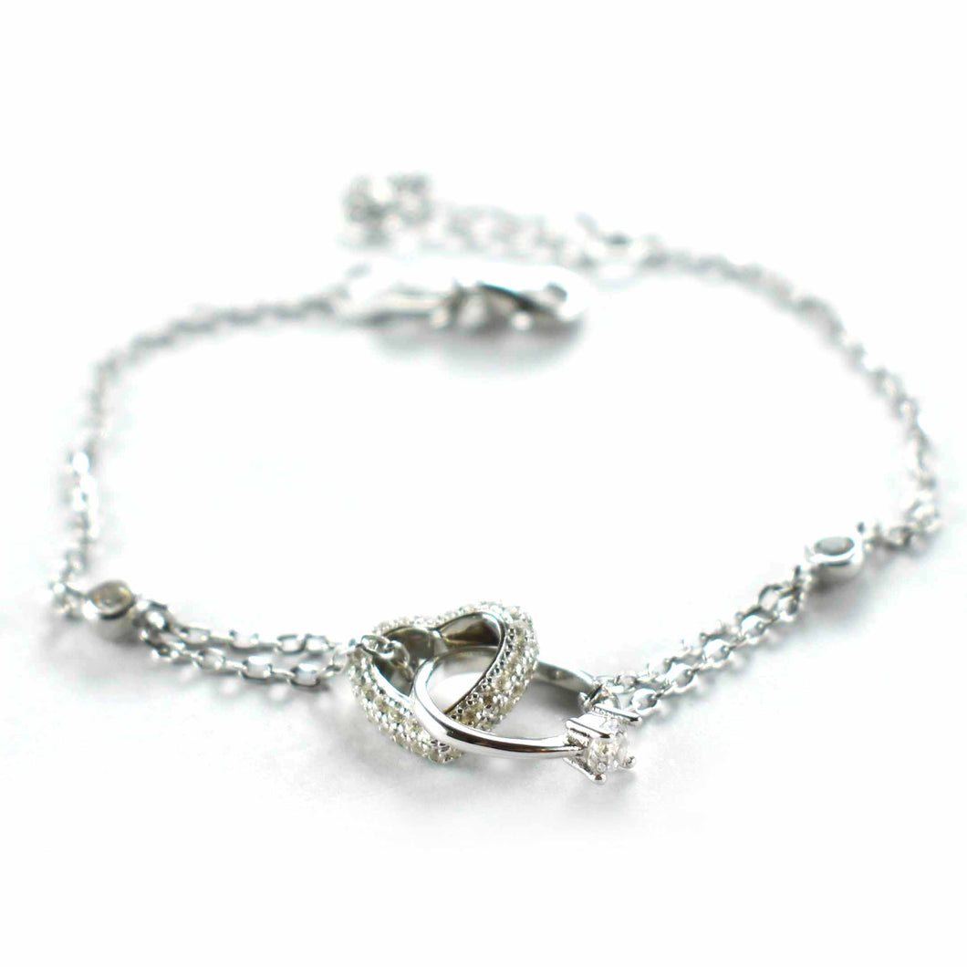 Heart & ring silver bracelet with white CZ