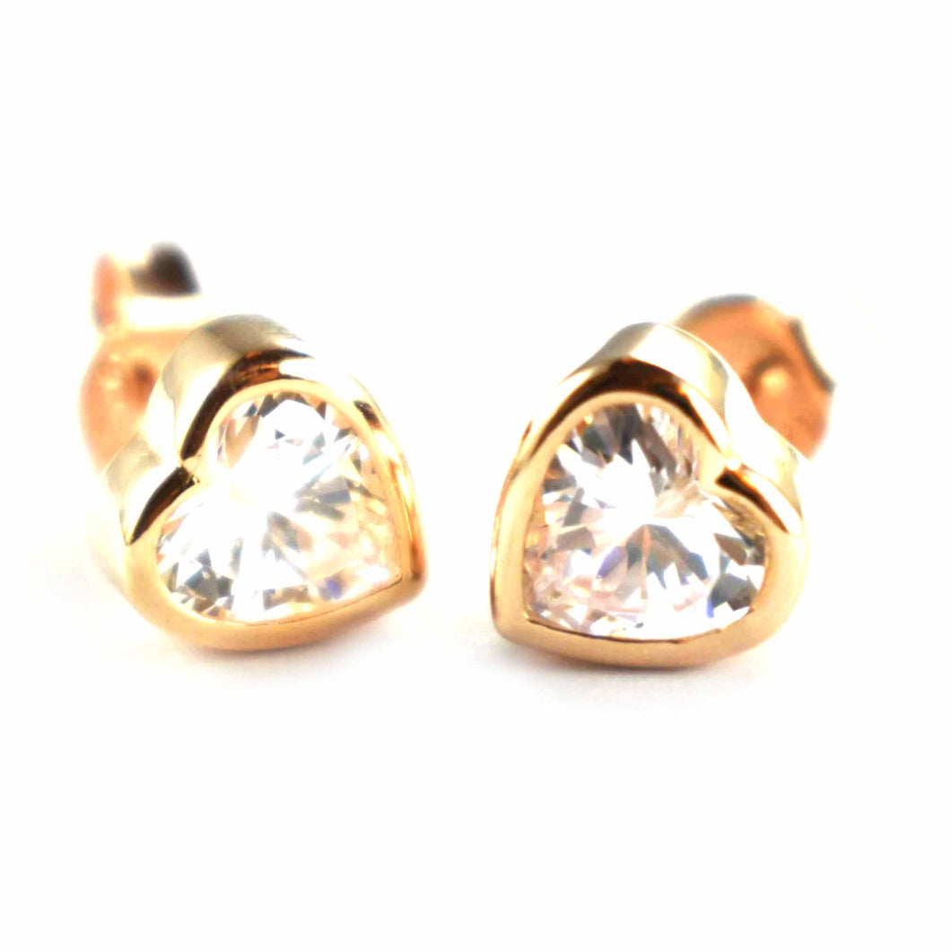 Heart silver earring with channel set CZ & pink gold plating