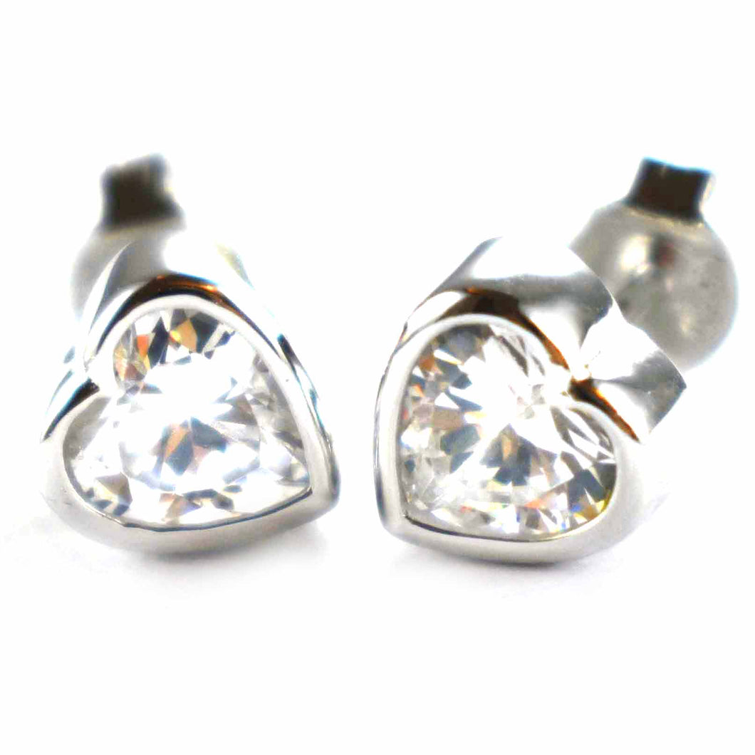 Heart silver earring with channel set CZ & platinum plating