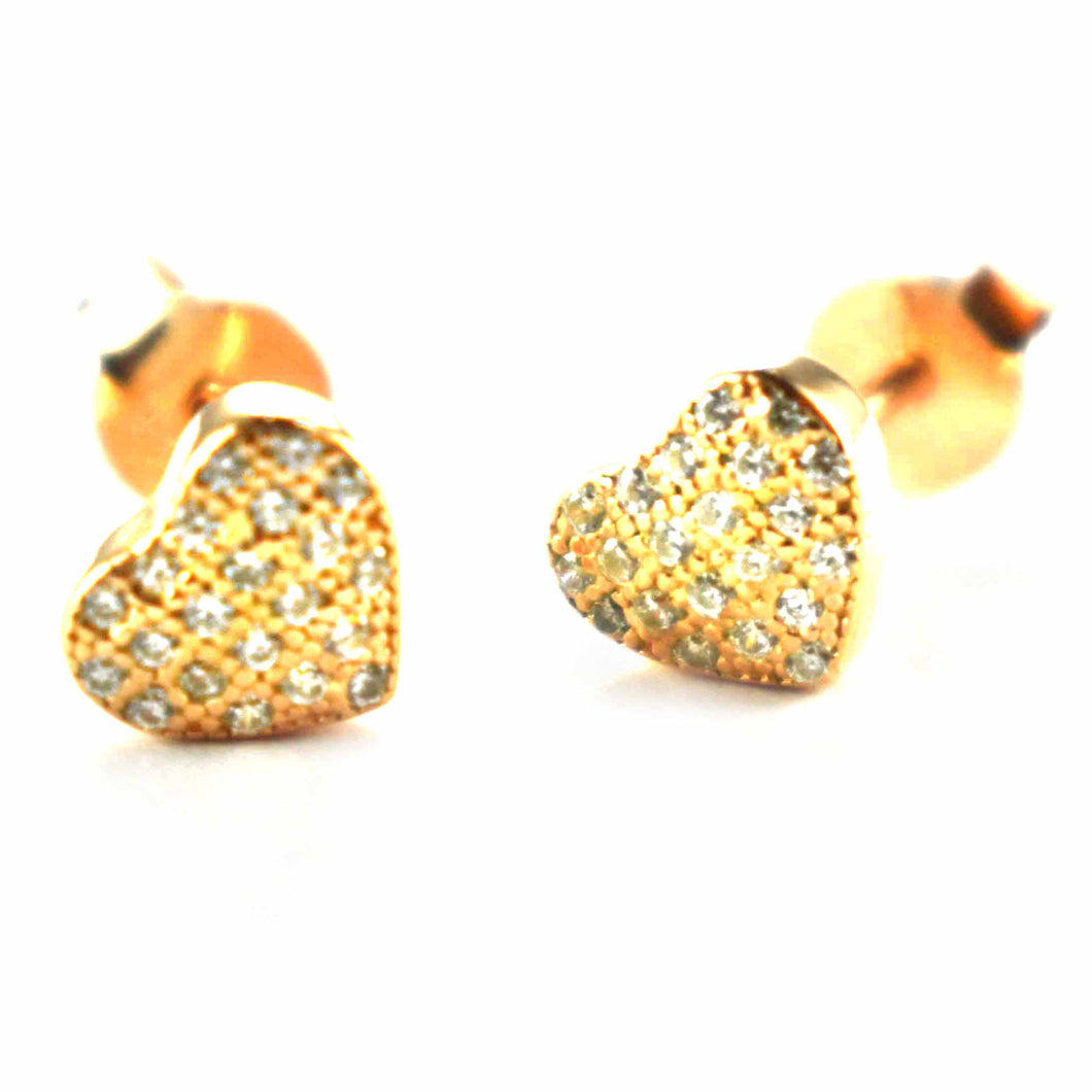 Heart silver earring with small CZ & pink gold plating