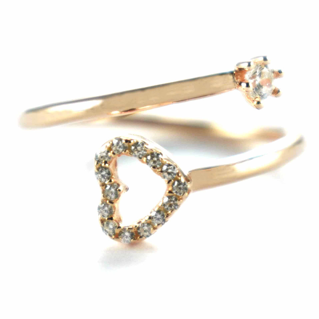 Heart silver ring with pink gold plating & white CZ