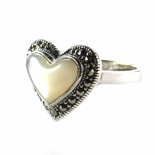 Heart silver ring with mother of pearl & marcasite