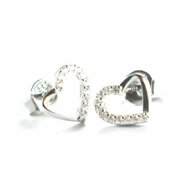 Heart silver stud earring with half of CZ