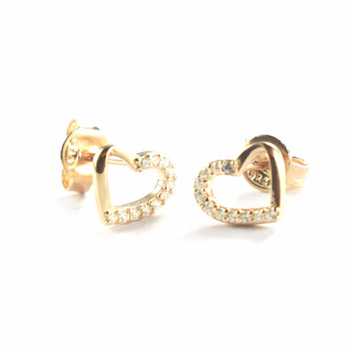 Heart silver stud earring with half of CZ & pink gold plating