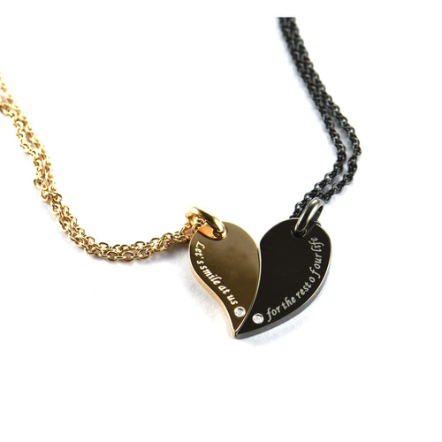 Heart stainless steel couple necklace