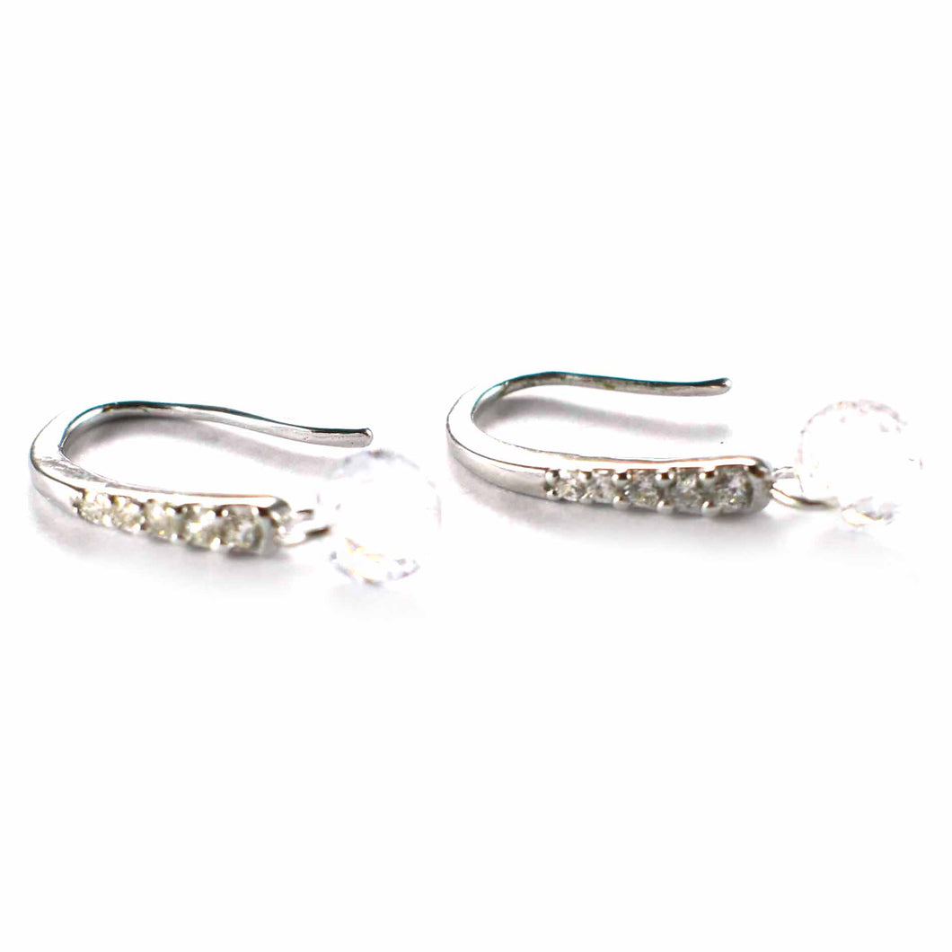 Hook silver earring with white CZ