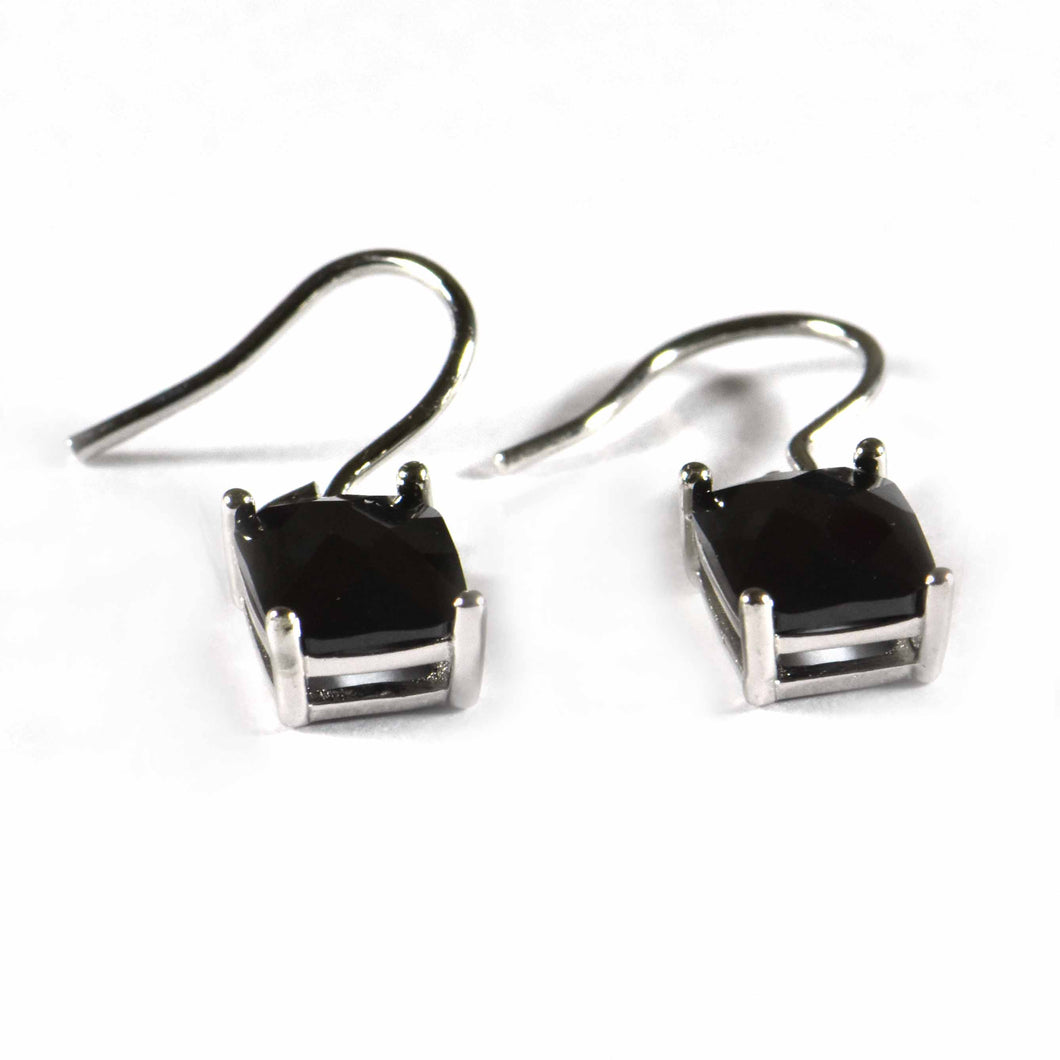 Hook silver earring with rectangle black CZ