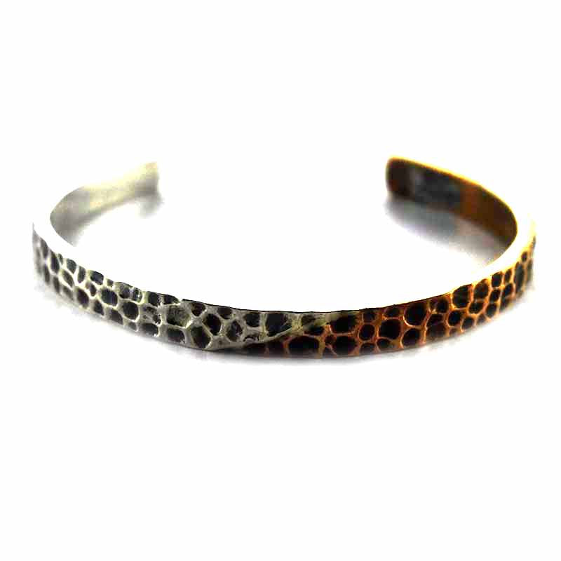 Hummer pattern with copper plating silver bangle