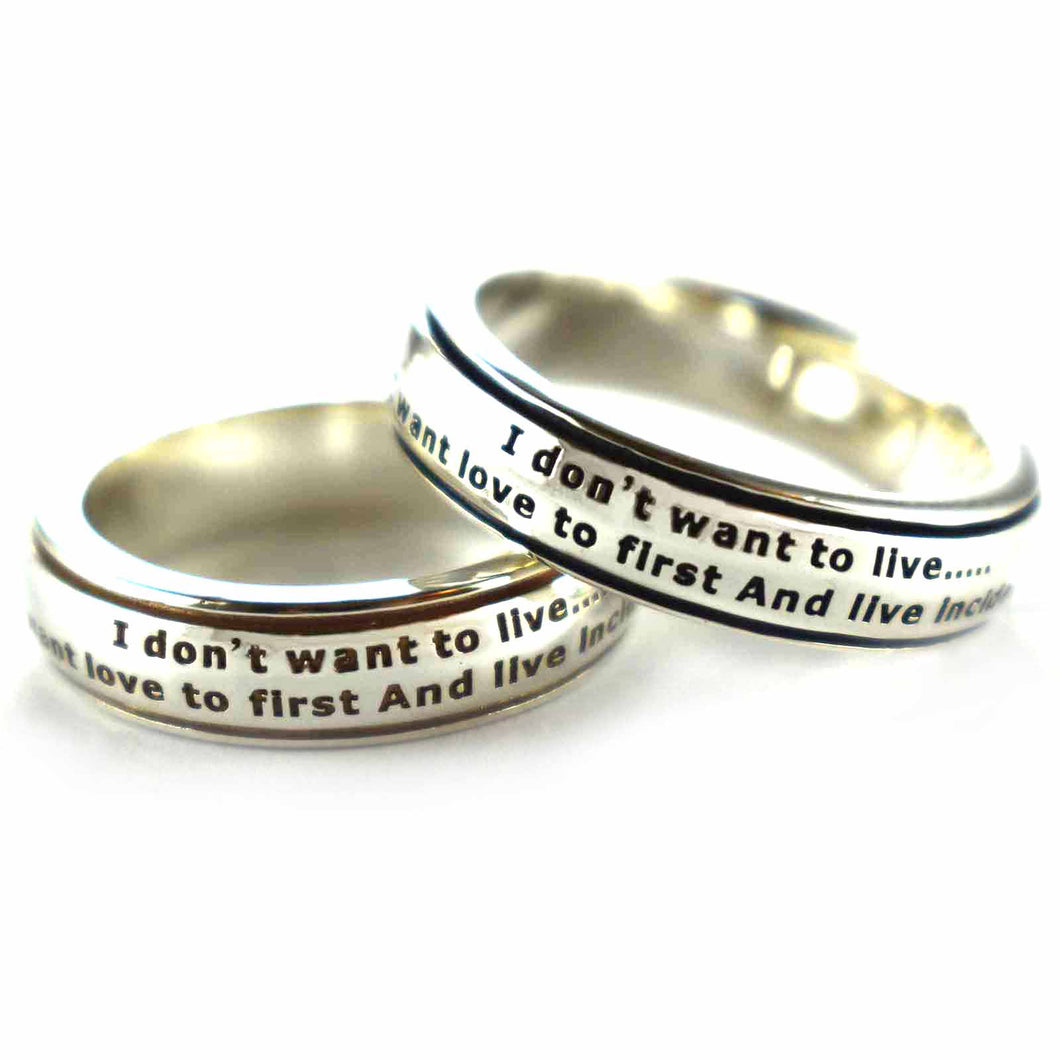 I don't want to live silver couple ring