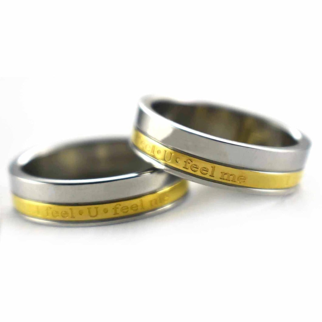 I feel U feel me stainless steel couple ring with gold plating