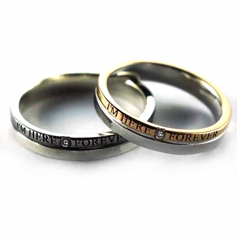 I'm here forever silver couple ring