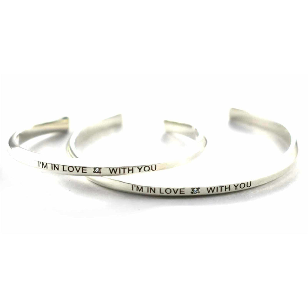 I'm in love with you silver couple bangle