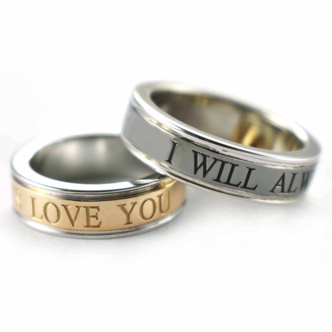 I will always love you silver couple ring with pink gold & black rhodium plating