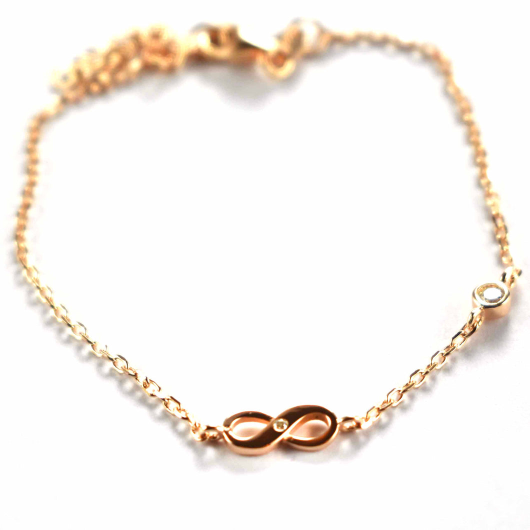 Infinity symbol necklace with white CZ & pink gold plating