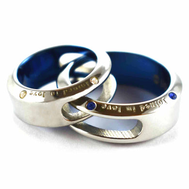 Joined in love stainless steel couple ring