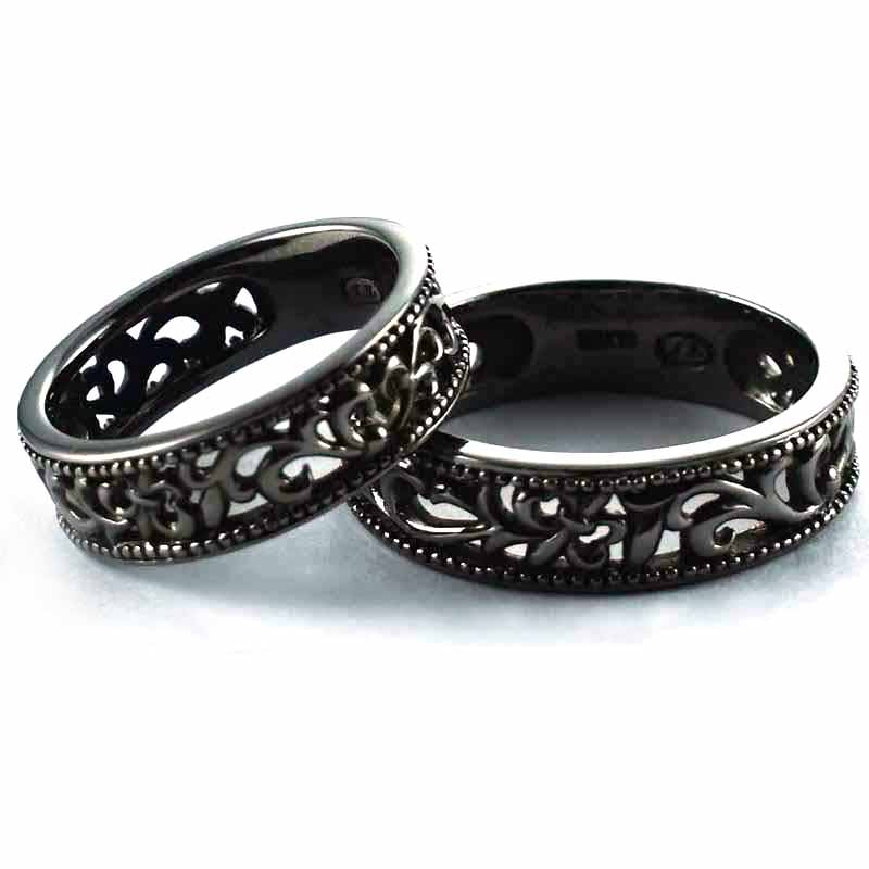 Lace pattern with black rhodium silver couple ring