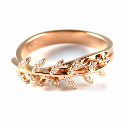 Leave silver ring with CZ & pink gold plating