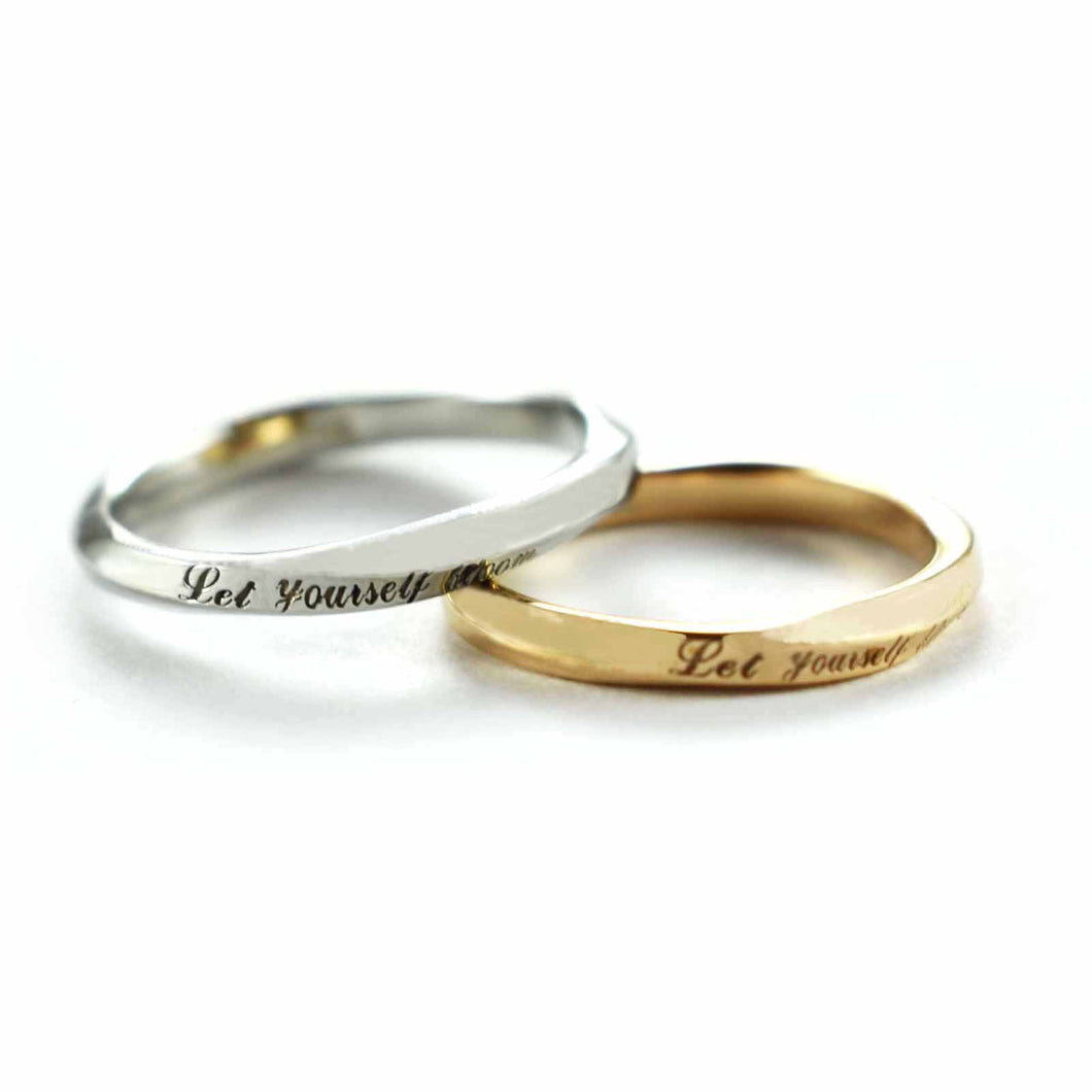 Let yourself bloom stainless steel couple ring