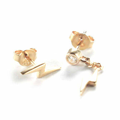 Lighting stud silver earring with chain & pink gold plating
