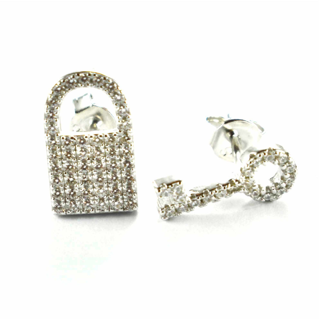 Lock & Key silver stud earring with small CZ