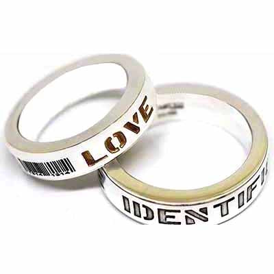 Love identification silver couple ring