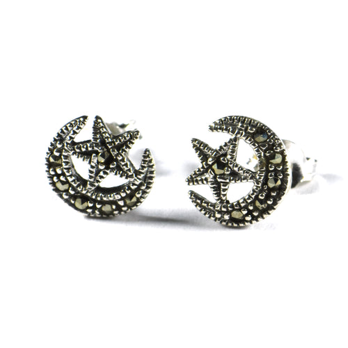 Moon & star silver studs earring with marcasite