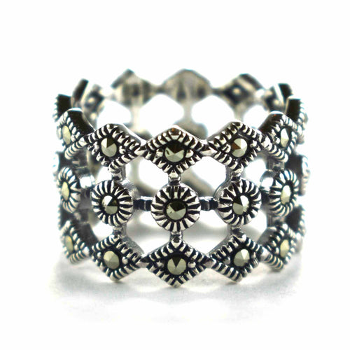 Network pattern silver ring with marcasite