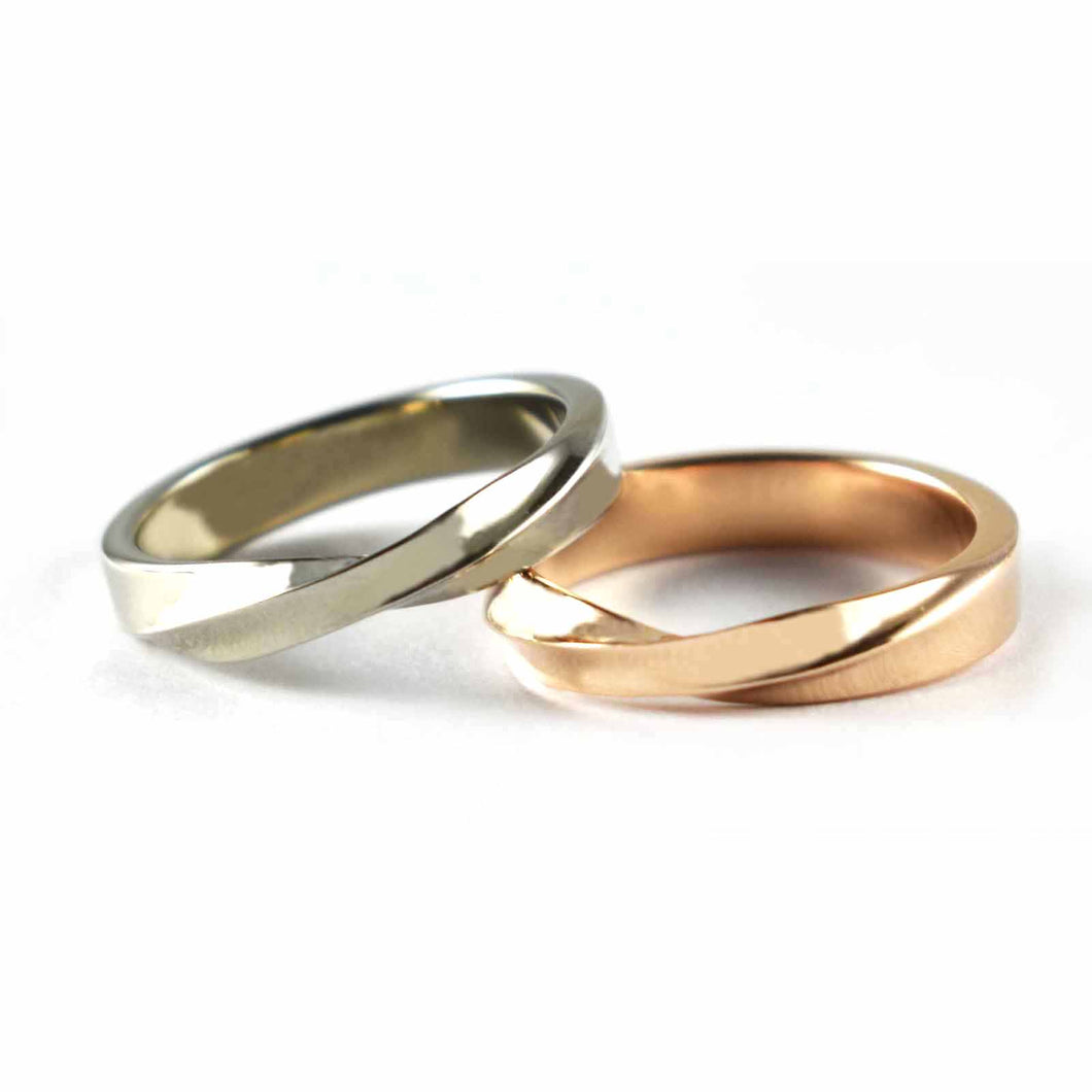New pattern silver couple ring with platinum & pink gold plating
