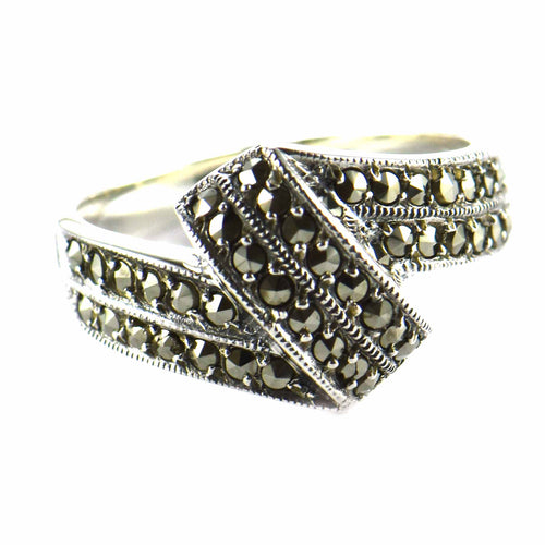New pattern  silver ring with marcasite