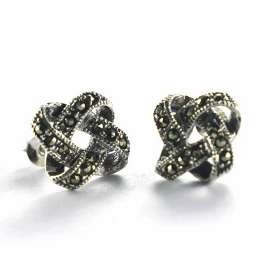 New ribbon silver earring with marcasite