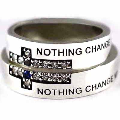 Nothing change my love for you silver couple ring