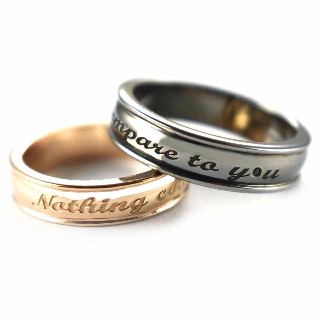Nothing compare to you silver couple ring with pink gold & black rhodium plating