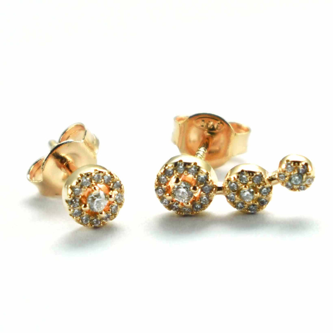 One & three silver stud earring with white CZ & pink gold plating