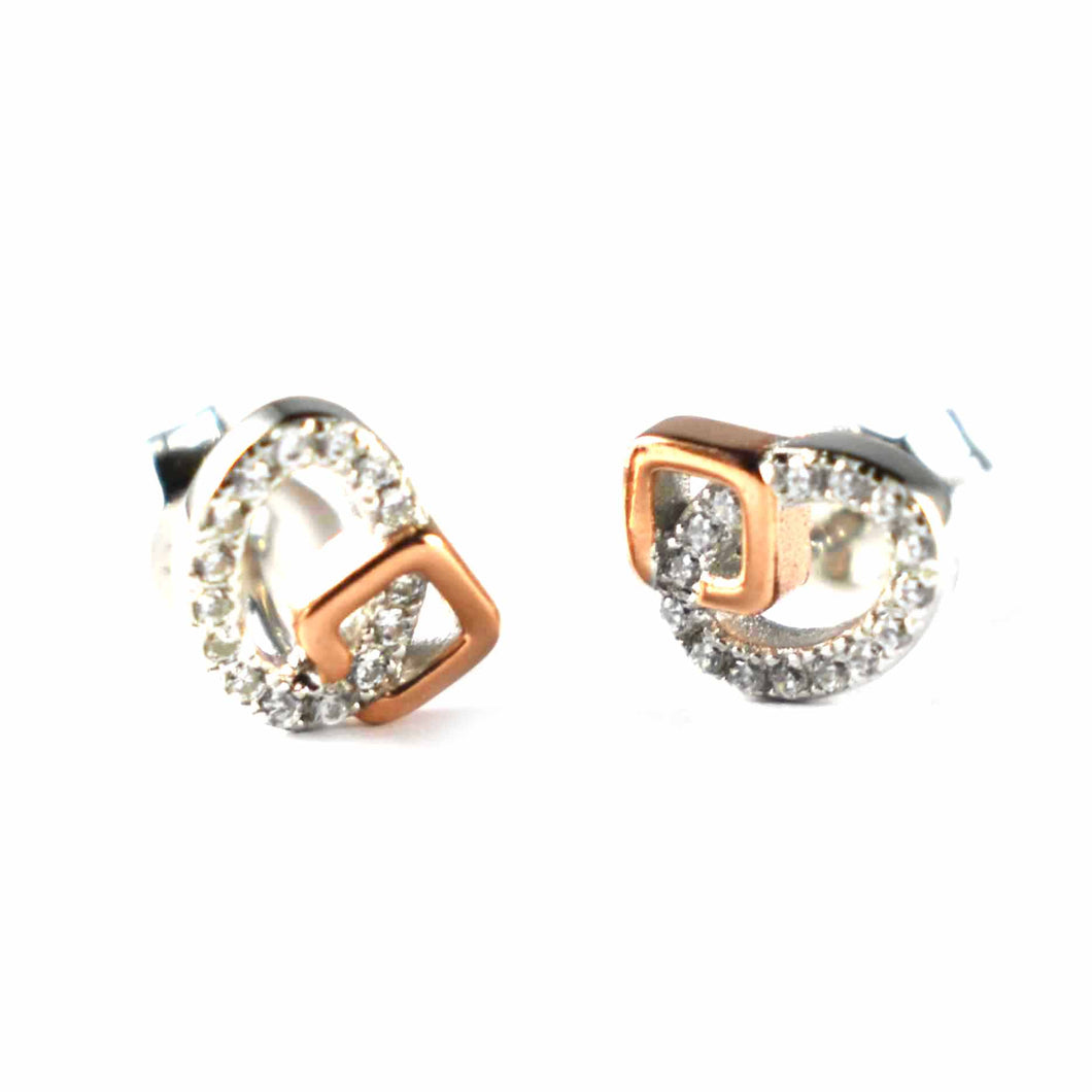 Oval & square shape silver earring with white CZ