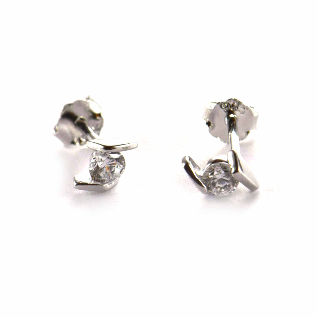 Parallel silver studs earring with CZ