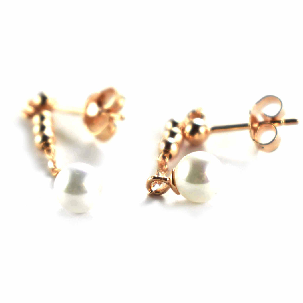 Pearl silver earring with ball pattern & pink gold plating
