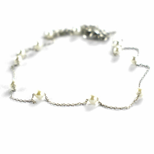 Pearl silver necklace with platinum plating