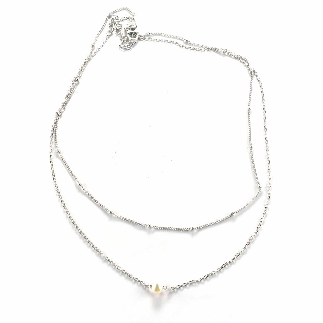 Pearl silver necklace with a small ball chain