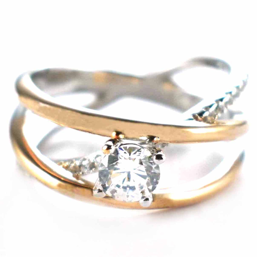 Pink gold & platinum plating silver ring with white CZ