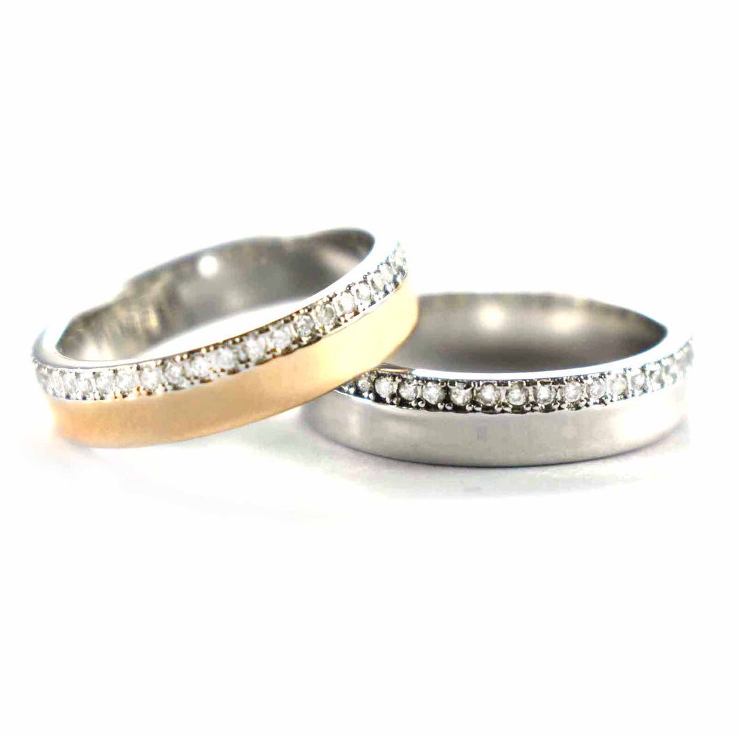 Pink gold & platinum plating with round of white CZ silver couple ring