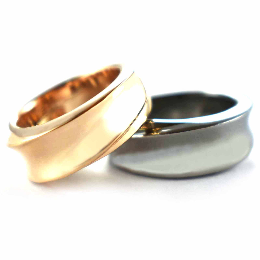 Plain series silver couple ring with pink gold & black rhodium