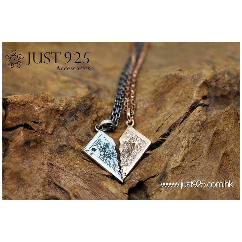 poker silver couple necklace