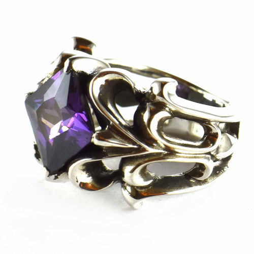 Purple square CZ silver ring