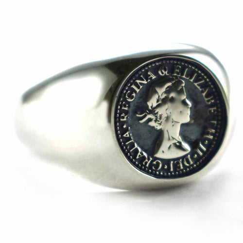 Queen Elizabeth silver ring with silver oxidizing