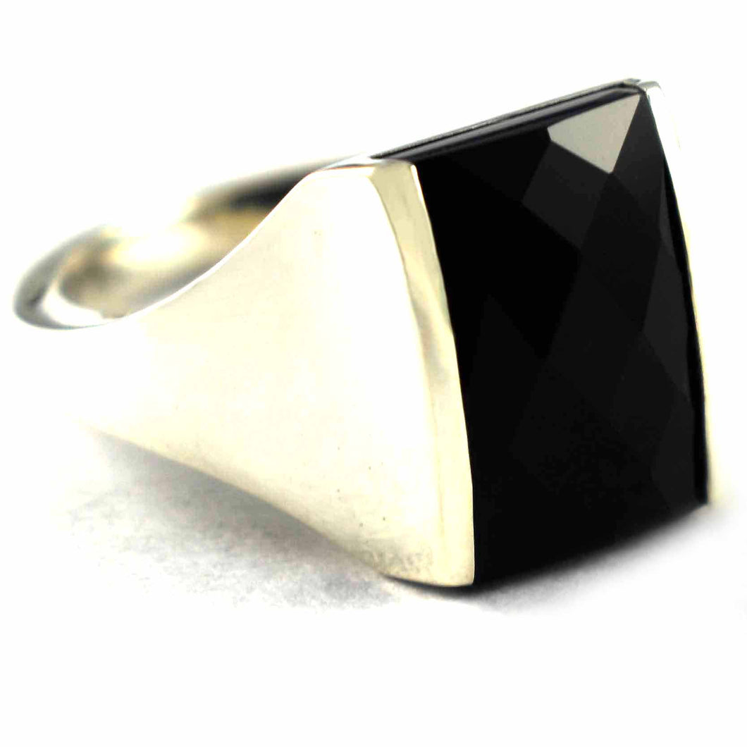 Rectangle onyx  with diamond cut silver ring